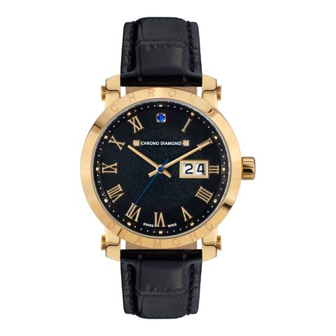 Chrono Diamond Men's Gold/Black Stainless Steel Nestorius Watch