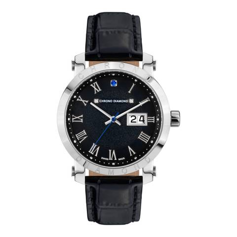 Chrono Diamond Men's Silver/Black Stainless Steel Nestorius Watch