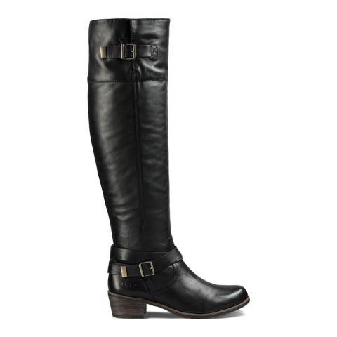 UGG Black Leather Bess Riding Boots