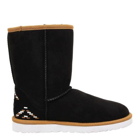 UGG Black Suede Classic Short Rustic Weave Boots