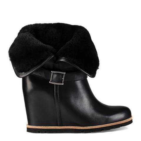 UGG Black Leather Ellecia Wedges