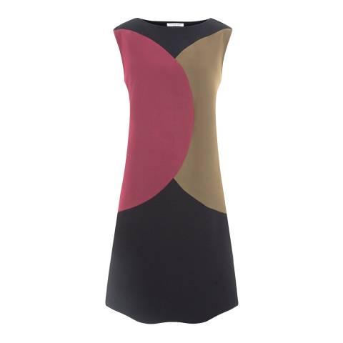 Nicole Farhi Grey/Pink/Beige Silk Blend Tinted Fusing Dress