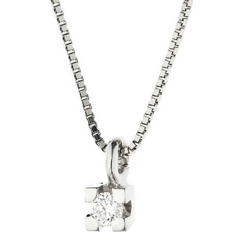 Pretty Solos Silver Diamond Link Necklace 0.03cts