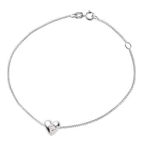 Pretty Solos Sterling Silver Diamond Heart Bracelet 0.03ct