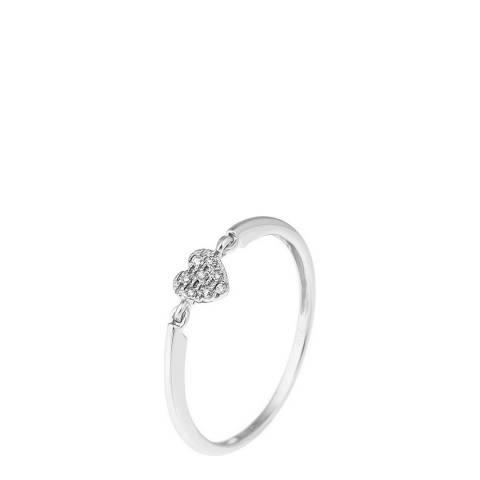 Diamant & Argent White Gold Diamond Heart Ring 0.032ct