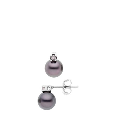 Pretty Solos Black Diamond/Tahitian Pearl Stud Earrings 0.06ct