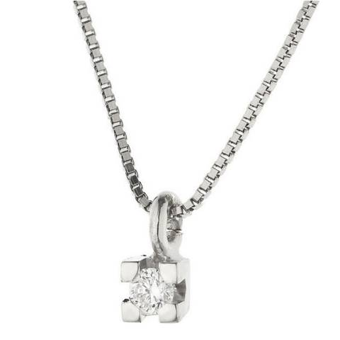 Diamant & Argent White Gold Pendant Necklace 0.03ct