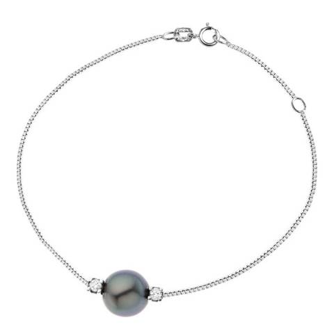 Dyamant Silver Link Venitienne Tahiti Pearl Bracelet 0.03cts