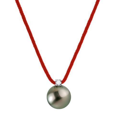 Diamond Design Red Tahiti Pearl Necklace 0.03cts