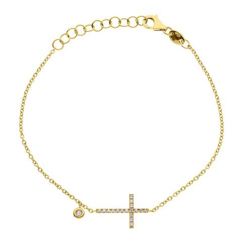 Diamant & Argent Gold Diamond Cross Bracelet 0.15ct