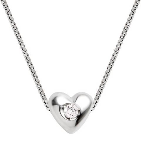 Diamant & Argent Sterling Silver Diamond Heart Pendant Necklace 0.03ct