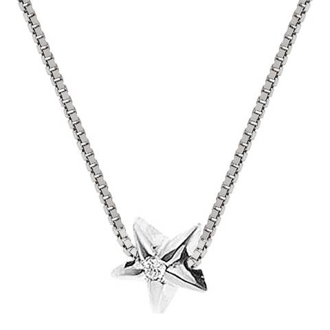 Diamond Design Silver Star Diamond Necklace 0.03cts
