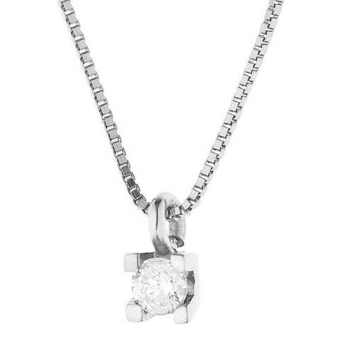 Dyamant Silver Four Claws Diamond Necklace 0.07cts