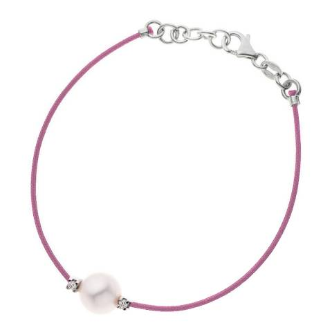 Diamant & Argent Pink Freshwater Pearl Bracelet 8-9mm 0.03ct