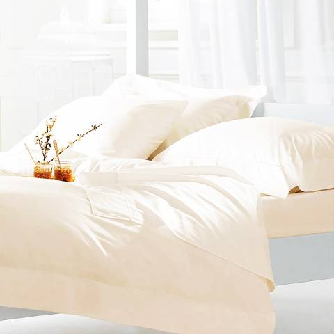 The Lyndon Company 600TC Double Duvet Cover Set, Cream
