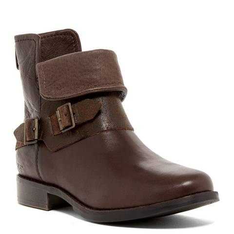 UGG Brown Leather Cybele Biker Boots