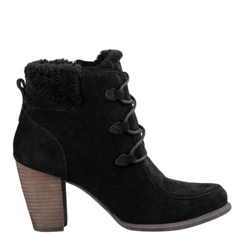 UGG Black Suede Analise Heeled Hiking Boots