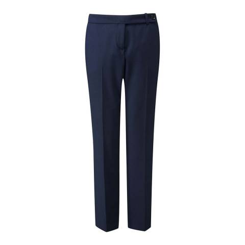 Pure Collection Navy Tailored Wool Blend Trousers