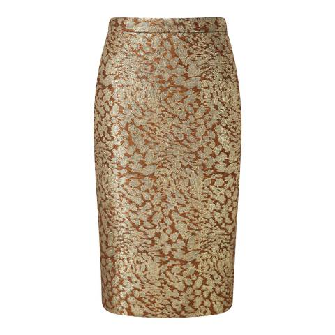 Pure Collection Gold Jacquard Pencil Skirt