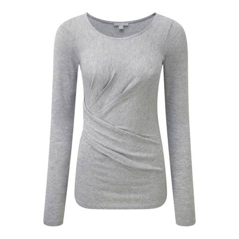 Pure Collection Silver Sparkle Grey Lurex Pleat Detail Top