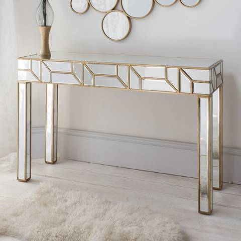 Gallery Mirrored Verbier Glass Console Table