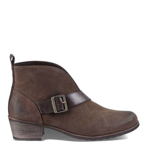 UGG Brown Suede Wright Belted Ankle Boots