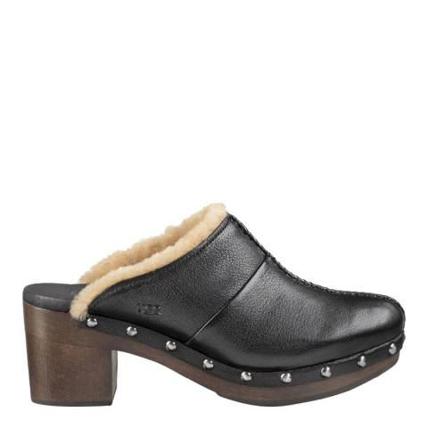 UGG Women's Black Leather Kassi Clogs