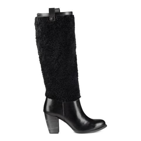 UGG Black Leather Ava Shearling Boots