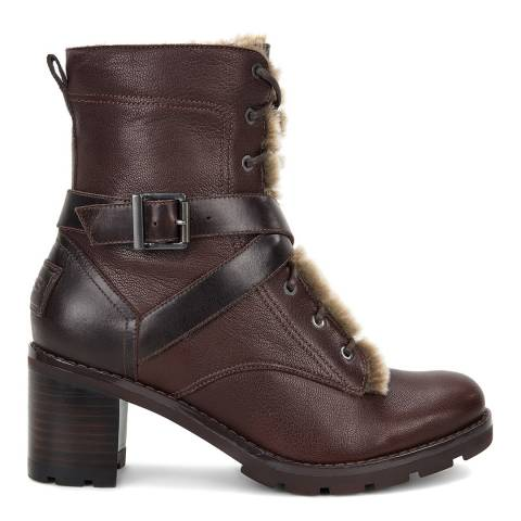 UGG Brown Leather Ingrid Biker Boots
