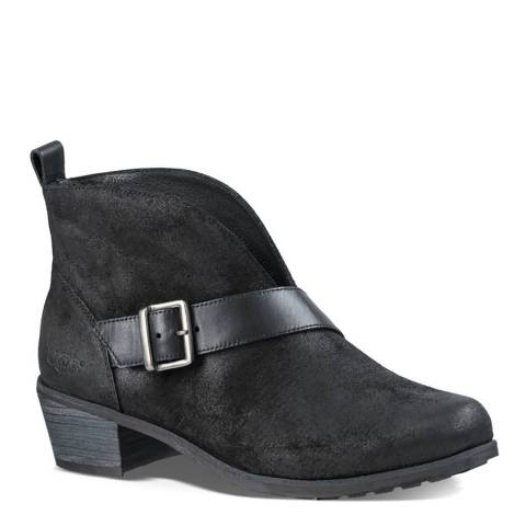 UGG Black Suede Wright Belted Ankle Boots