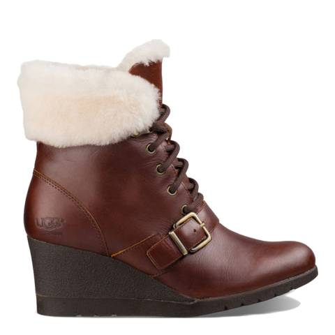 UGG Cordovan Leather Janney Ankle Boots