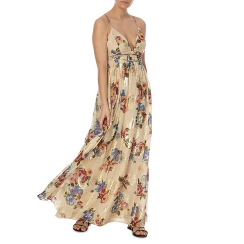 Free People Ivory Combo Party Shadows Gown