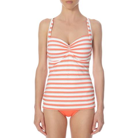 Seafolly Orange/White DD Coast to Coast Soft Cup Halter Tankini Top