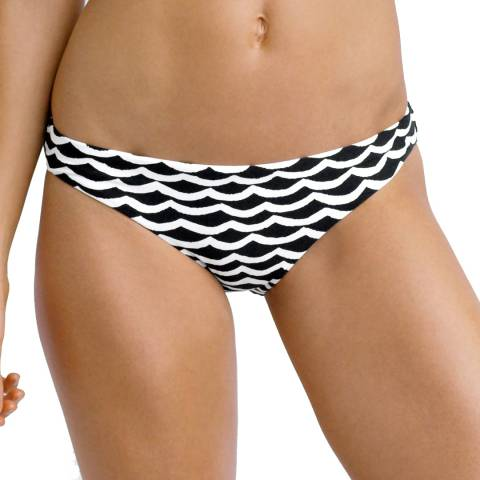 Seafolly Black/White Tidal Wave Hipster Bikini Briefs