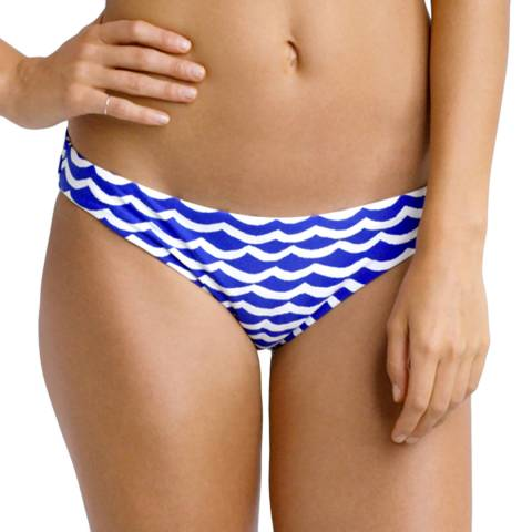 Seafolly Blue/White Tidal Wave Hipster Bikini Briefs