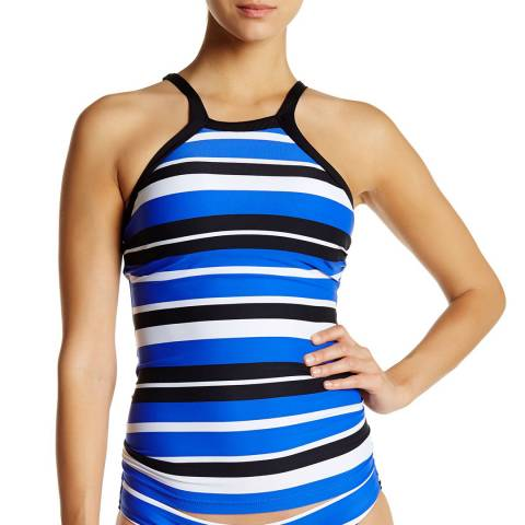 Seafolly Blue/Black & White Walk The Line High Neck Tankini Top