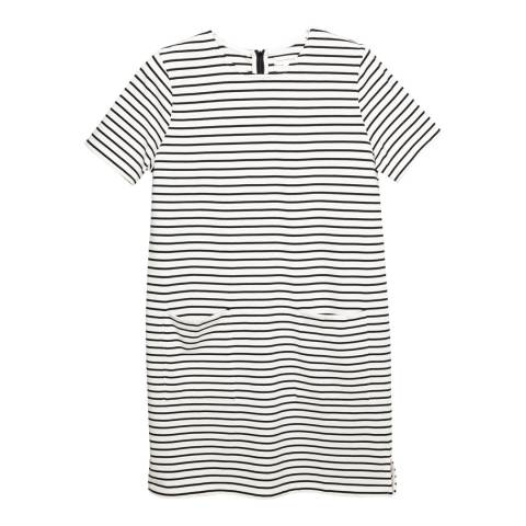 Chinti and Parker Off White/Black Stripe Cotton Dress