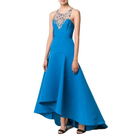 Marchesa Peacock Sleeveless Embellished Gown