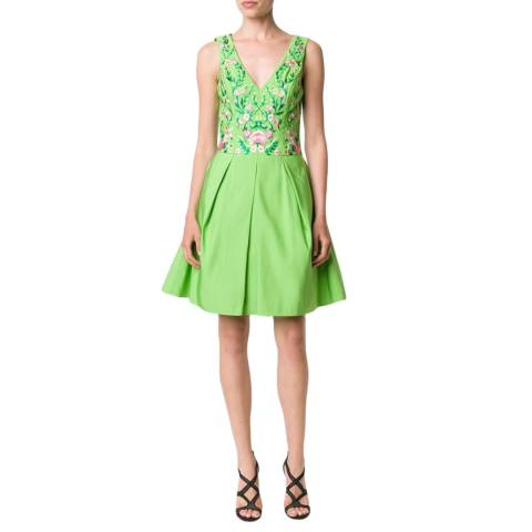 Marchesa Lime Green Pleated Embroidered Faille Dress