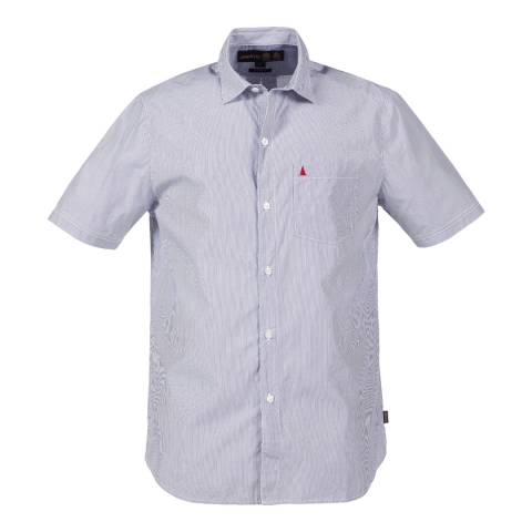 Musto Men's Navy/White Stripe Cotton Short Sleeve Shirt