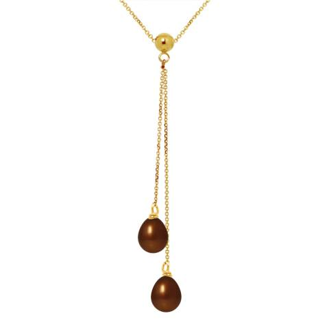 Mitzuko Brown Yellow Gold Pearl Pearl Necklace
