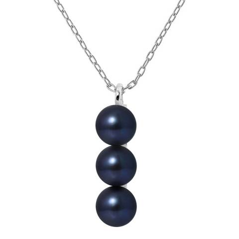 Just Pearl Black Pearl Button Necklace