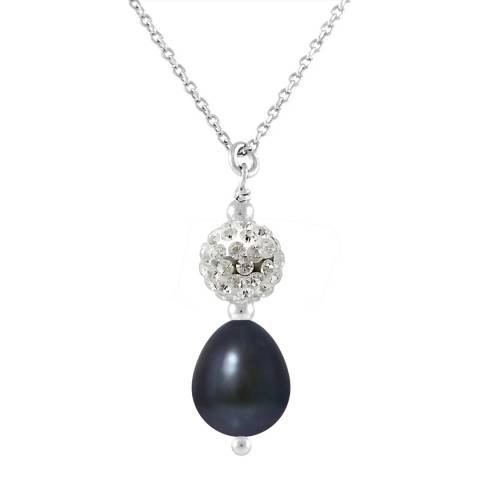 Mitzuko Necklace of Real Cultured Freshwater Pearls Black