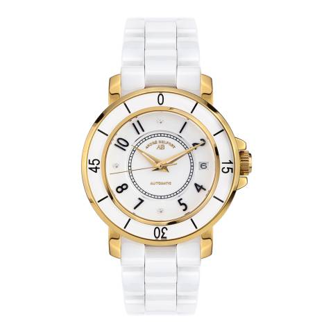Andre Belfort Women's White/Gold Diamond Aphrodite Weiss Ceramic Watch
