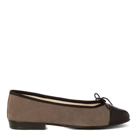 French Sole Dark Grey Suede Leather Toe Cap Sturdy Flats