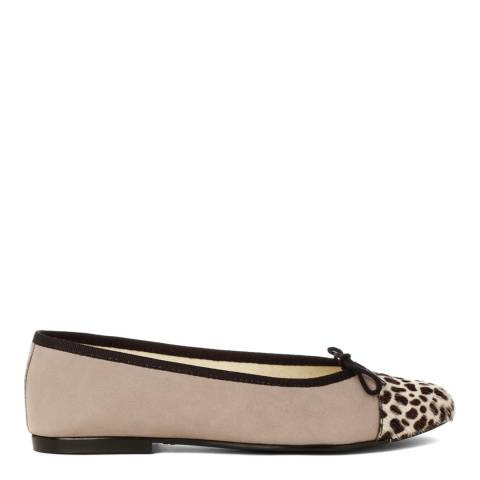 French Sole Grey Suede Snow Leopard Print Toe Cap Simple Flats