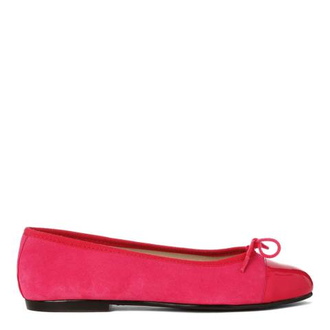 French Sole Fuschia Suede Patent Toecap Simple Flats