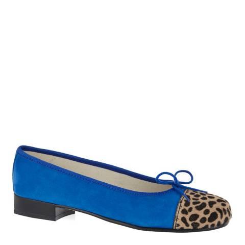 French Sole Colbolt Blue Leopard Print Toecap Flats