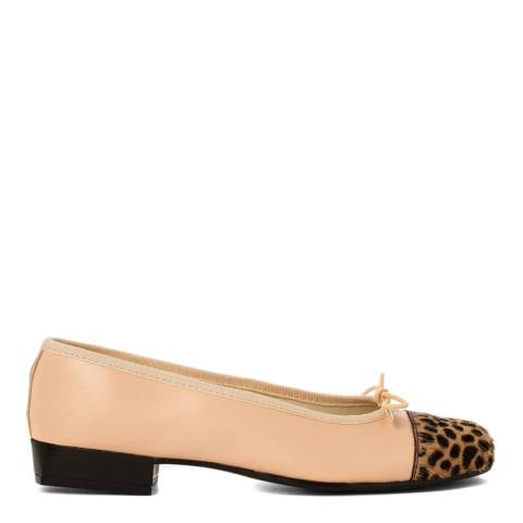 French Sole Pale Pink Leather Square Toe Leopard Print Toe Cap Flats