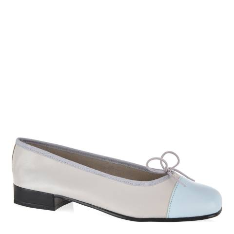 French Sole Grey Leather Square Toe Pale Blue Toe Cap Flats
